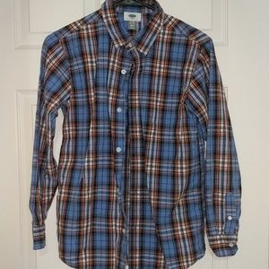 Old Navy 💙 🧡 Plaid Button Up, XL 14-16